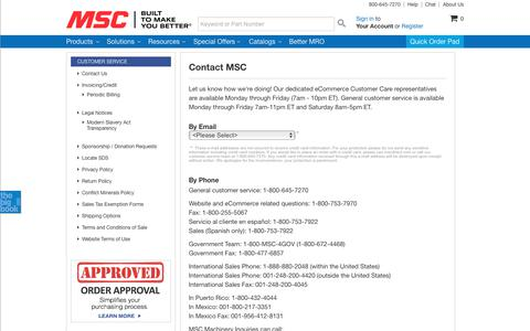 Screenshot of Contact Page mscdirect.com - MSC Industrial Supply Co. | Contact MSC - captured June 24, 2017