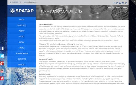 Screenshot of Terms Page spatap.com - Terms - SpaTap - The World's First Pocket Shower SpaTap – The World's First Pocket Shower - captured Sept. 30, 2014