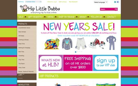 Screenshot of Home Page hiplittlebubba.com - Premier Online Baby Store, Baby Clothes, Girls Clothing, Boys Clothing, Accessories - Hip Little Bubba - captured Jan. 28, 2015