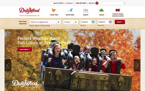 Screenshot of Home Page dollywood.com - Dollywood and Dollywood's Splash Country | Dolly Parton's Smoky Mountain Vacation Destination - captured Oct. 22, 2015