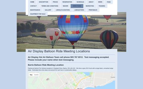 Screenshot of Maps & Directions Page airdisplay.ca - Air Display Hot Air Balloon Team - Directions To Meeting Locations - captured July 29, 2018