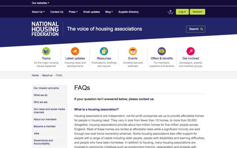 Screenshot of FAQ Page housing.org.uk - FAQs   About us   National Housing Federation - captured Feb. 17, 2018