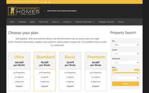 Screenshot of Pricing Page phomes.ae - Choose your plan | - captured Jan. 30, 2016