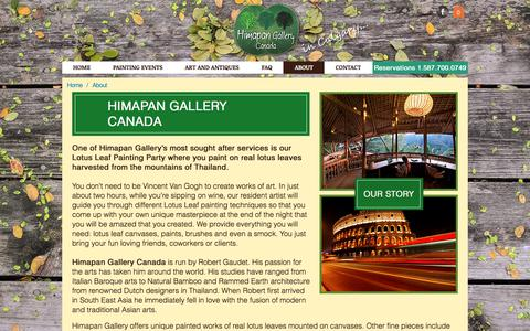 Screenshot of About Page himapancanada.com - About Himapan Gallery Canada - captured July 6, 2017