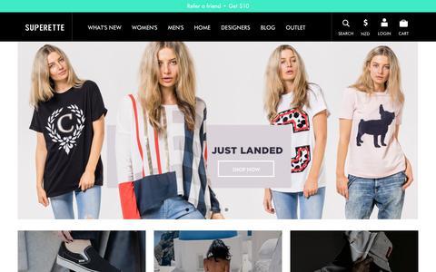 Screenshot of Home Page superette.co.nz - Superette - Womens & Mens Designer Clothing Online | NZ/AUS Fashion  - Superette | Your Fashion Destination. - captured Oct. 1, 2014