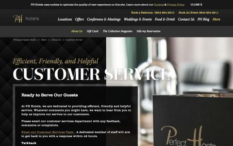 Screenshot of Support Page principal-hayley.com - Customer Service - Principal Hayley Hotels - captured Sept. 23, 2014