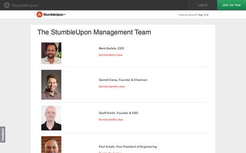 Screenshot of Team Page stumbleupon.com - The StumbleUpon Management Team | StumbleUpon.com - captured Oct. 10, 2014
