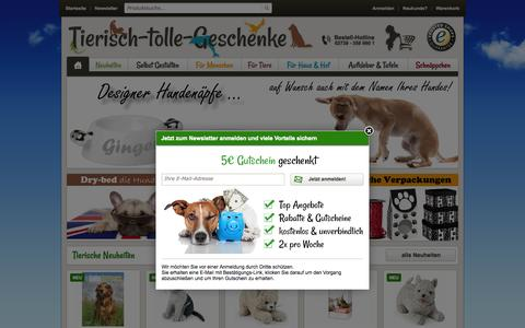 Screenshot of Home Page tierisch-tolle-geschenke.de - Tierisch tolle Geschenk Ideen für Hunde & Katzen-Liebhaber - Tierisch-tolle-Geschenke - captured Aug. 9, 2015