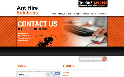 Screenshot of Contact Page anthire.co.uk - Anthire | Contact Us - captured Oct. 4, 2014