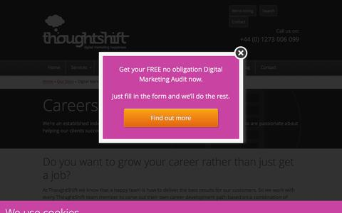 Screenshot of Jobs Page thoughtshift.co.uk - Digital Marketing, SEO, Social Media Careers & Jobs in Brighton - captured Sept. 23, 2018