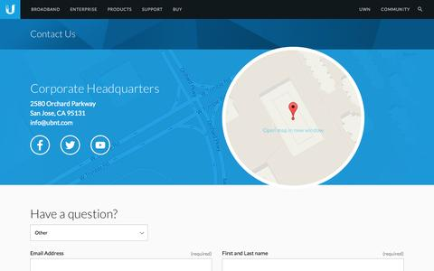 Screenshot of Contact Page ubnt.com - Ubiquiti Networks - Contact Us - captured Sept. 12, 2014