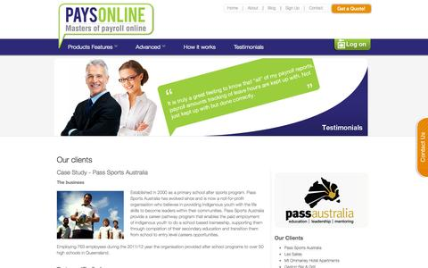 Screenshot of Testimonials Page paysonline.com.au - PaysOnline – Business Payroll Services | Payroll Management - captured Sept. 29, 2014