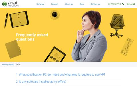 Screenshot of FAQ Page virtualpractices.co.uk - Frequently asked questions - Virtual Practices - captured Nov. 15, 2017