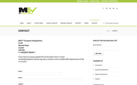 Screenshot of Contact Page myelectricvehicle.org - Contact - My Electric Vehicle - Manufacturer of the Electric HUMMER HX™myelectricvehicle - captured Oct. 9, 2014