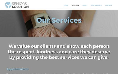 Screenshot of Services Page seniors-solution.com - Services | Seniors Solution | Ottawa, ON - captured June 11, 2017
