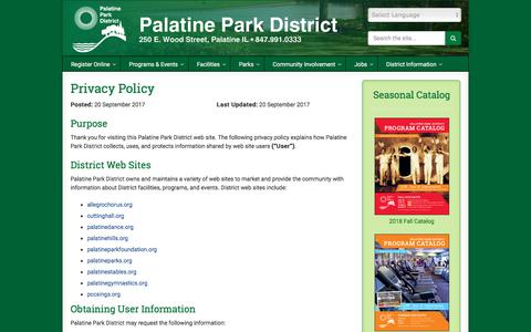 Screenshot of Privacy Page palatineparks.org - Privacy Policy   Palatine Park District - captured Sept. 25, 2018
