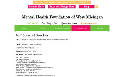 Screenshot of Team Page benice.org - MHF Staff | be nice. | Mental Health Foundation of West Michigan - captured Oct. 17, 2018