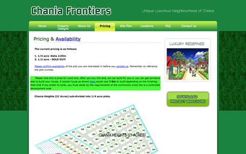 Screenshot of Pricing Page chaniafrontiers.com - Welcome - captured Oct. 2, 2014