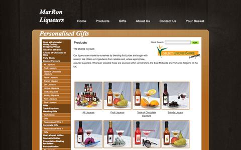 Screenshot of Products Page marronliqueurs.co.uk - Marron Liqueurs Products - captured Oct. 27, 2014