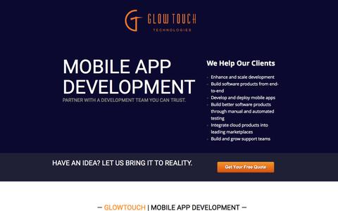 Screenshot of Landing Page glowtouch.com - Mobile App Development - captured June 20, 2016