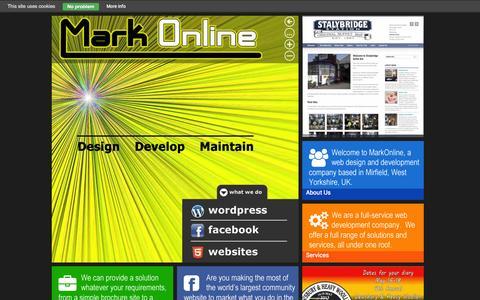 Screenshot of Home Page markonline.co.uk - MarkOnline is Mirfield Web Designer and Developer - captured Oct. 9, 2014