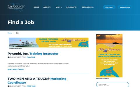 Screenshot of Jobs Page panamacity.org - Jobs Archive - Bay County Chamber of Commerce - captured Oct. 5, 2018
