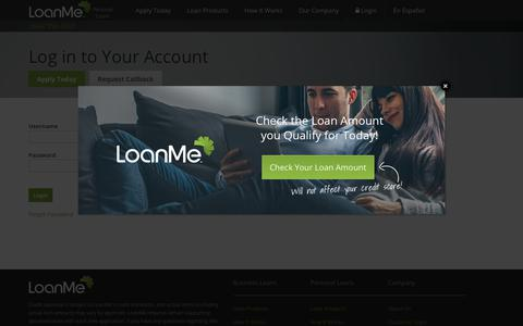 Screenshot of Login Page loanme.com - Personal Loans Online | Bad Credit & Installment Loans, How to Get a Small Business or Start Up Loan Online - captured Oct. 21, 2018