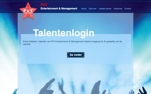 Screenshot of Login Page pvtentertainment.nl - Over ons | Zoetermeer | PVT Entertainment & Management - captured Dec. 13, 2018