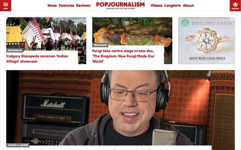 Screenshot of Home Page popj.ca - Popjournalism - Canada's Pop Culture Source - captured July 20, 2018