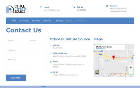 Screenshot of Contact Page officefurnituresource.com - Contact Us - Office Furniture Source - captured Jan. 24, 2020