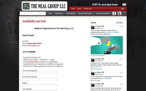 Screenshot of Press Page nealgroup.net - Media: Availability And Info | The Neal Group, LLC | Milwaukee Accountant, Milwaukee Tax Preparation - captured Oct. 6, 2014