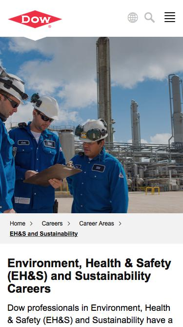 Screenshot of Jobs Page  dow.com - EH&S and Sustainability Careers   Dow
