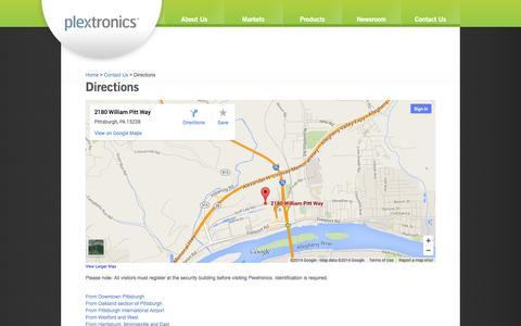 Screenshot of Maps & Directions Page plextronics.com - Plextronics :: Contact Us :: Directions - captured Sept. 17, 2014