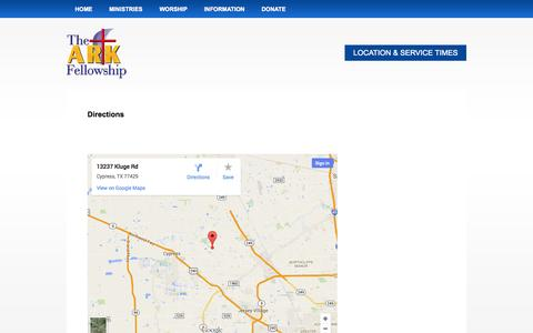 Screenshot of Maps & Directions Page thearkfellowship.org - Directions - captured Oct. 26, 2014