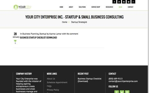 Screenshot of Blog yourcityenterprise.com - Startup Strategist - Your City Enterprise Inc. - Startup & Small Business Consulting - captured Oct. 3, 2016