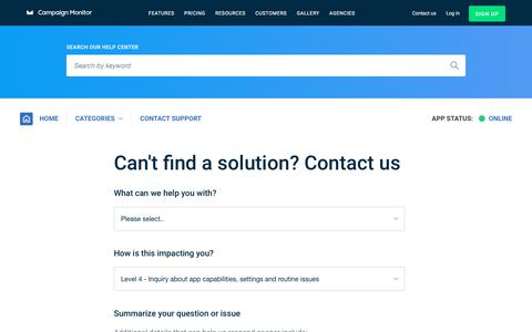 Screenshot of Contact Page campaignmonitor.com - Support | Campaign Monitor - captured Aug. 19, 2018