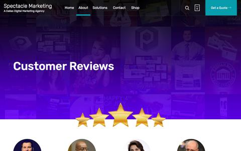 Screenshot of Testimonials Page createaspectacle.com - ? 5-Star Rated » Read Our Digital Marketing Customer Reviews - captured July 6, 2018
