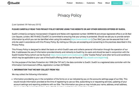 Screenshot of Privacy Page duedil.com - Privacy Policy  | DueDil - captured June 19, 2016