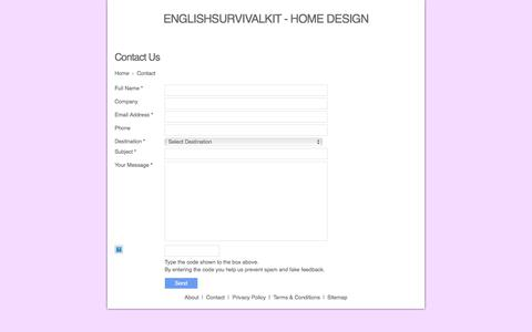 Screenshot of Contact Page englishsurvivalkit.com - Contact Page | englishsurvivalkit Home Design - captured Feb. 25, 2018