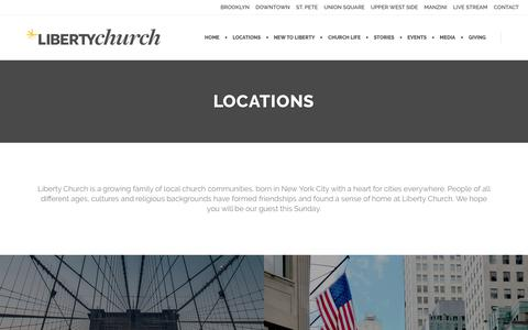 Screenshot of Services Page Locations Page libertychurch.com - Locations | Liberty Church - captured Oct. 31, 2017