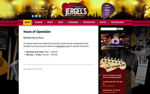 Screenshot of Hours Page jergels.com - Hours of Operation | Jergel's Rhythm Grille | Great People, Great Food, Great Music | Warrendale, PA - captured Sept. 22, 2014