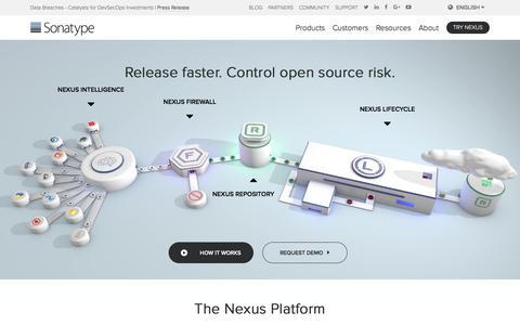 Screenshot of Home Page sonatype.com - Sonatype | DevOps Automation - Open Source Governance - captured July 11, 2018