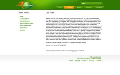 Screenshot of Products Page gofuels.co.uk - Our fuels - captured Oct. 2, 2014