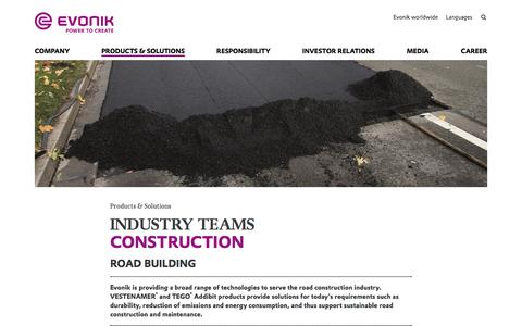 Road Building - Construction Industry - Evonik Industries AG