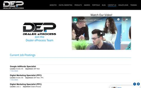 Screenshot of Jobs Page dealereprocess.com - Careers - Dealer eProcess - captured Oct. 1, 2019