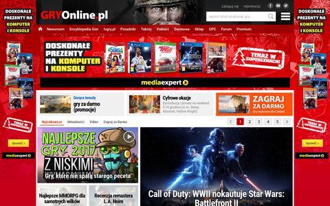 Screenshot of Home Page gry-online.pl - GRY-OnLine.pl - Gry Online dla wszystkich, Gry Komputerowe, Gry na Konsole, Darmowe Gry - wszystko o grach | GRYOnline.pl - captured Dec. 10, 2017