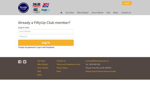 Screenshot of Login Page fiftyupclub.com - FiftyUp Club | It's time for Australia's best customers to get what they deserve - captured Nov. 2, 2014