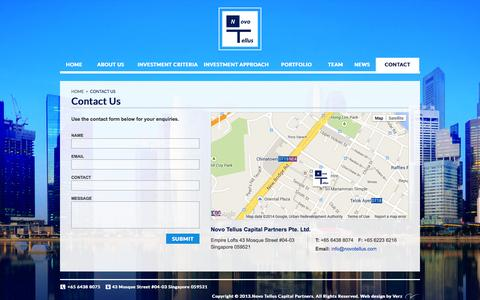 Screenshot of Contact Page novotellus.com - Contact Us:: Novo Tellus Capital Partners – Private Equity Firm - captured Oct. 7, 2014