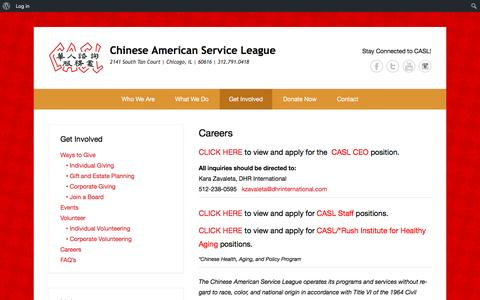 Screenshot of Jobs Page caslservice.org - Careers | Chinese American Service League - captured Nov. 5, 2016