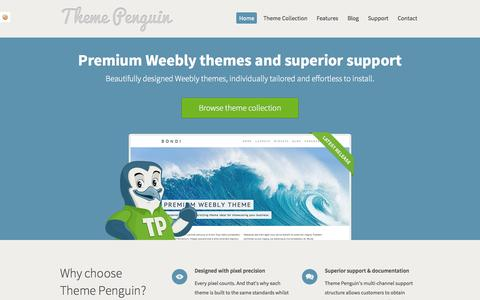 Screenshot of Home Page themepenguin.com - Theme Penguin - Premium Weebly Themes - captured Sept. 22, 2014